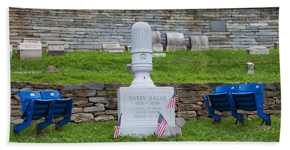 Phillies Harry Kalas' Grave Bath Sheet featuring the photograph Phillies Harry Kalas' Grave by Bill Cannon