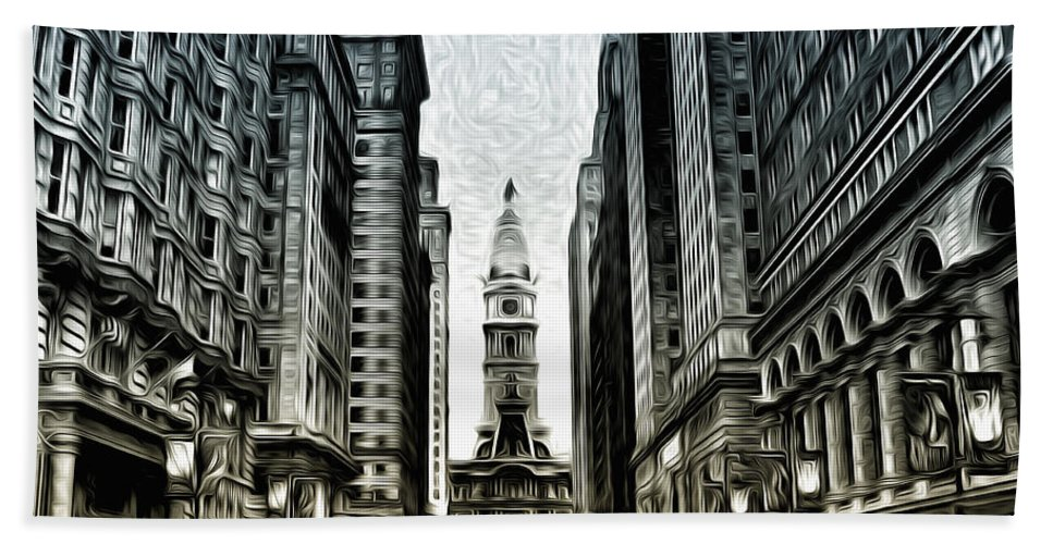 Philly - Broad Street Hand Towel featuring the photograph Philly - Broad Street by Bill Cannon