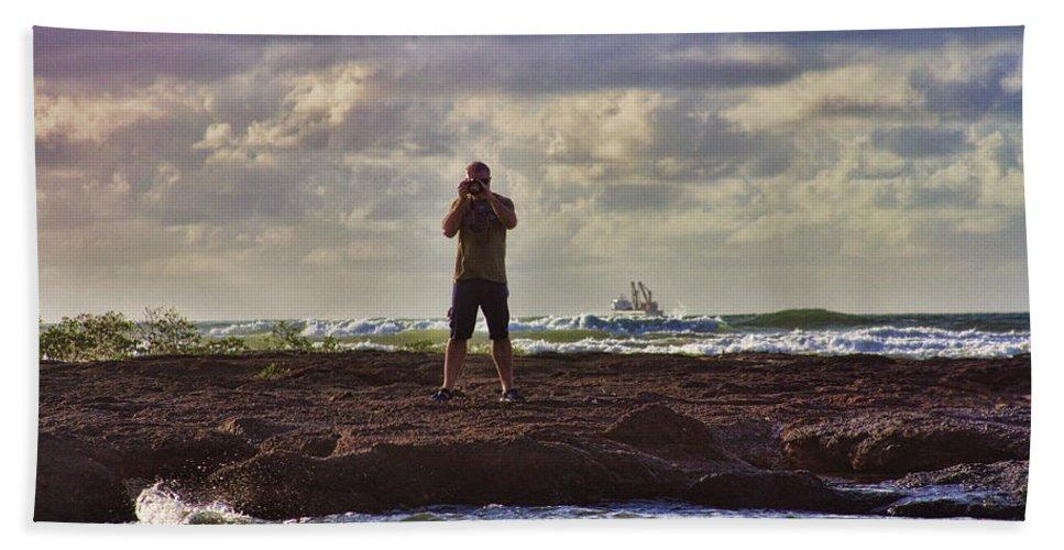 Self Portrait Bath Sheet featuring the photograph Photographing Seaside Life by Douglas Barnard