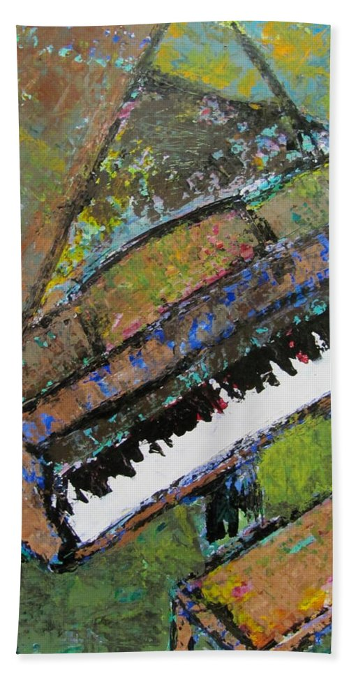 Music Hand Towel featuring the painting Piano Aqua Wall - Cropped by Anita Burgermeister