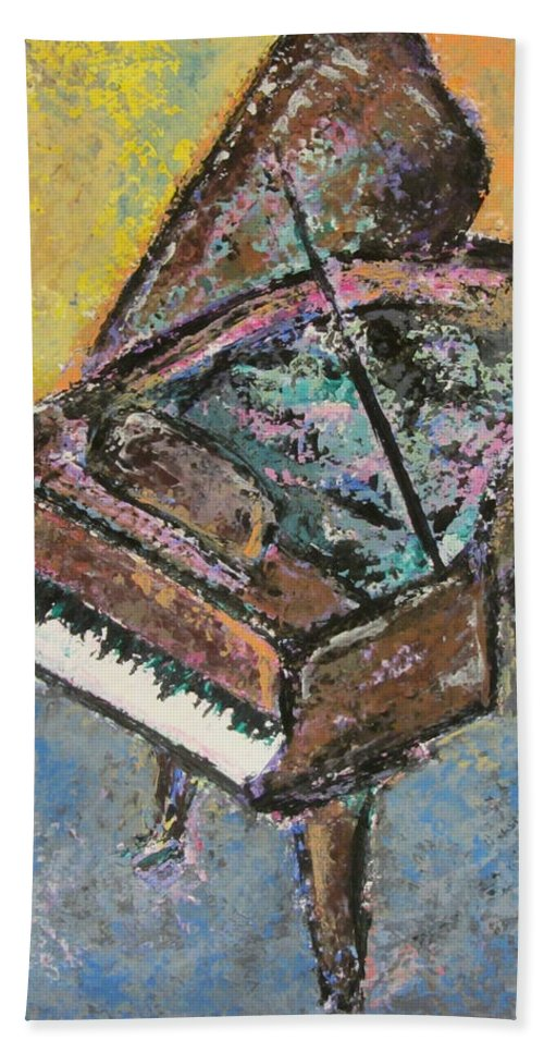 Piano Bath Sheet featuring the painting Piano Study 2 by Anita Burgermeister