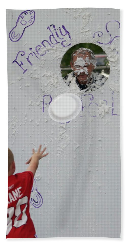 Pie Tossing Bath Sheet featuring the photograph Pie Tossing 02 by Thomas Woolworth