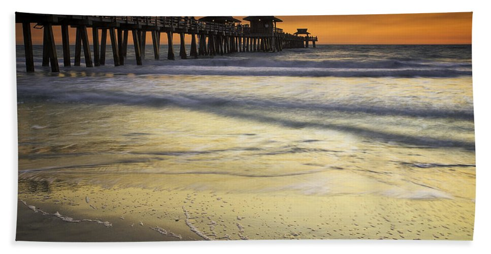 Pier Bath Sheet featuring the photograph Pier At Sunset by Fran Gallogly