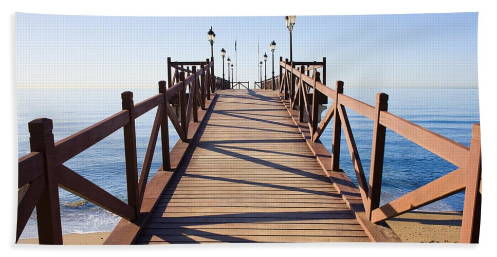 Pier Hand Towel featuring the photograph Pier On Costa Del Sol In Marbella by Artur Bogacki