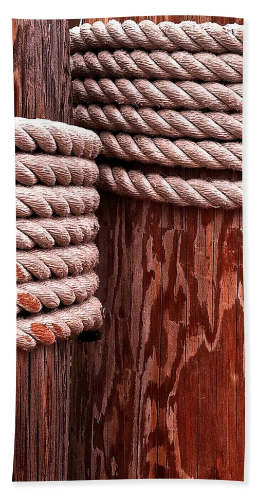 Pier Hand Towel featuring the photograph Pier Ropes by Bill Owen