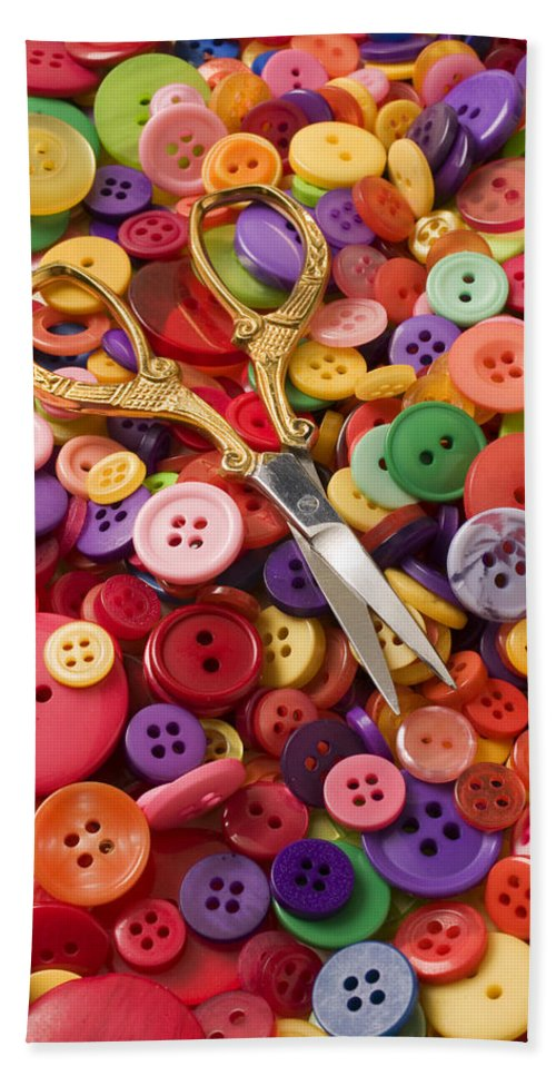 Button Bath Sheet featuring the photograph Pile Of Buttons With Scissors by Garry Gay