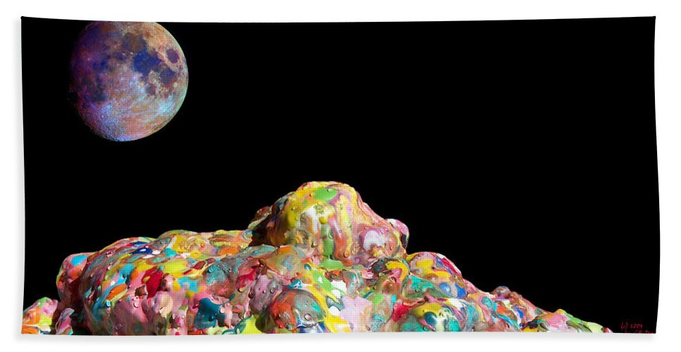 Abstract Bath Sheet featuring the painting Pile Of Color In Space Two K O Four by Carl Deaville