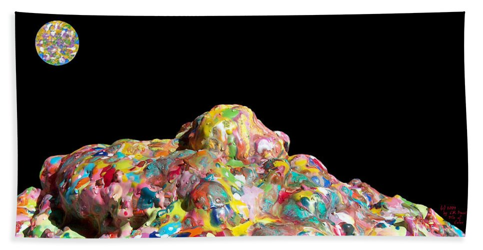 Original Bath Sheet featuring the photograph Pile Of Encaustic Color With A Wax Moon Two K O Four by Carl Deaville