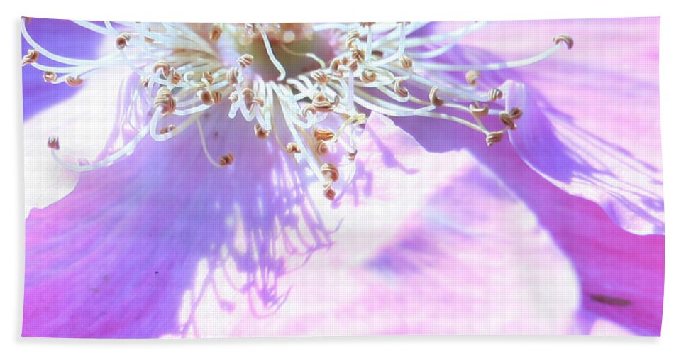 Flower Hand Towel featuring the photograph Pink And Blue Flower by Donna Corless