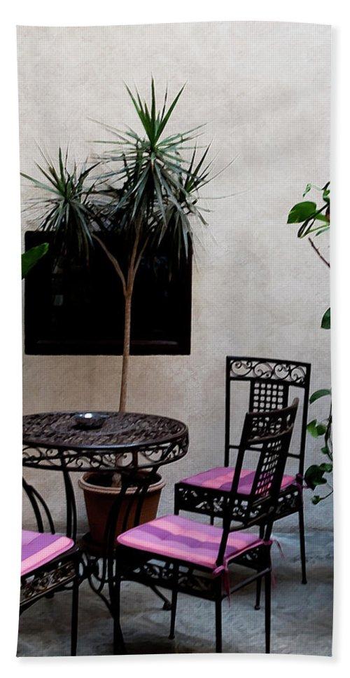 Granada Bath Sheet featuring the photograph Pink And Purple Patio by Lorraine Devon Wilke