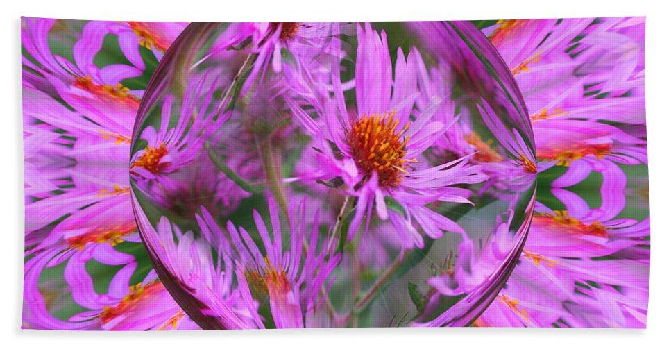 Flower Bath Sheet featuring the digital art Pink Asters Energy by Smilin Eyes Treasures