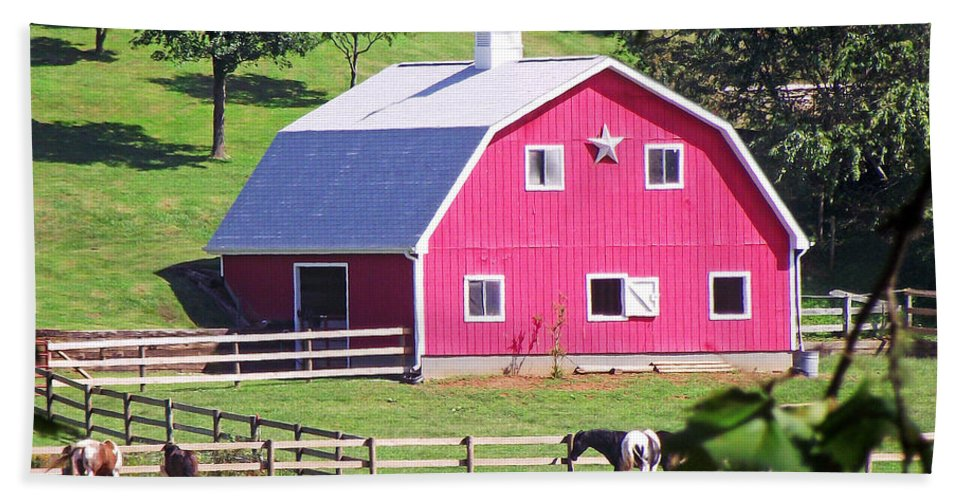 Barns Bath Sheet featuring the photograph Pink Barn In The Summer by Duane McCullough