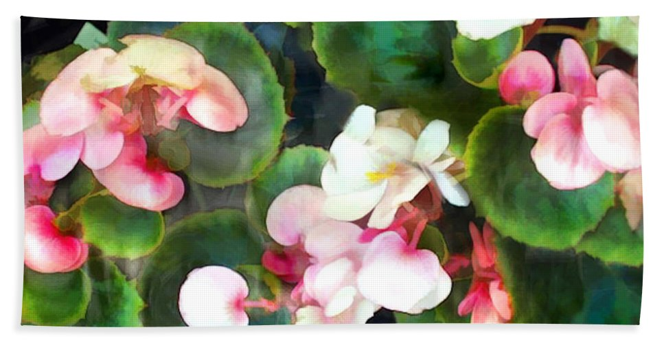 Flower Flowers Garden Begonia Begonias Wax+begonias Pink Flora Floral Nature Natural Hand Towel featuring the painting Pink Begonias by Elaine Plesser