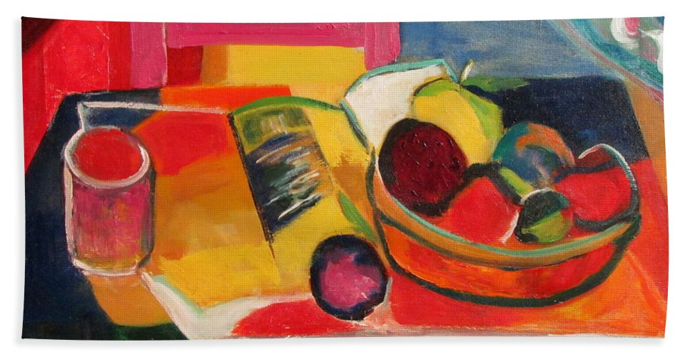 Colorful Still Life Bath Sheet featuring the painting Pink Chair And Pink Plum by Betty Pieper