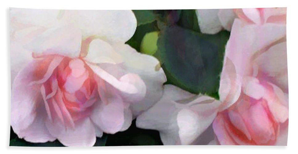 Flower Flowers Garden Impatiens Double+impatiens Pink Flora Floral Nature Natural Hand Towel featuring the painting Pink Double Impatiens by Elaine Plesser