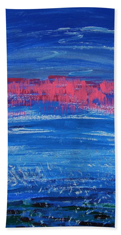 Abstract Hand Towel featuring the painting Pink In Sky Over Whitecaps by Mary Carol Williams