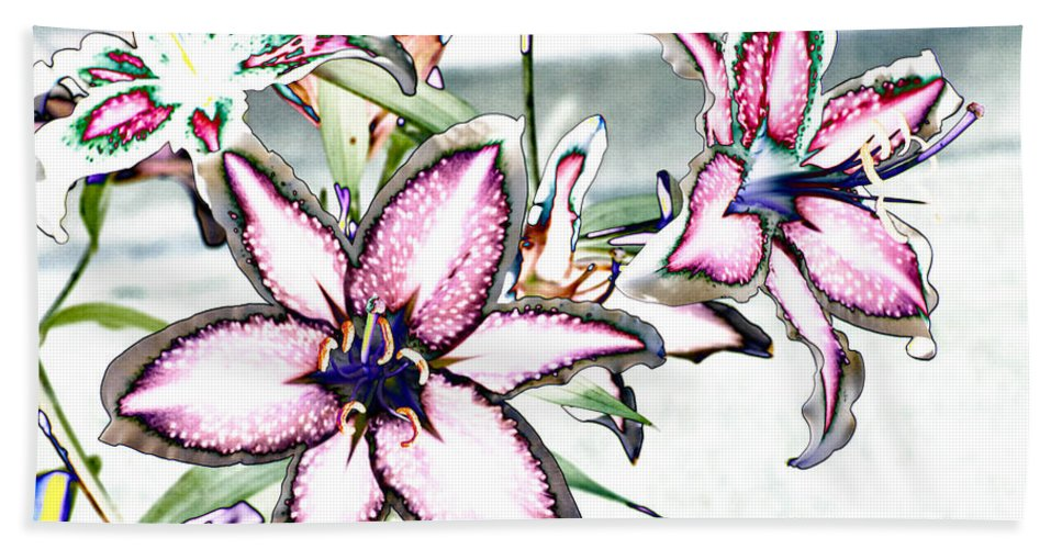 Lilies Bath Sheet featuring the photograph Pink Lilies by Diana Haronis