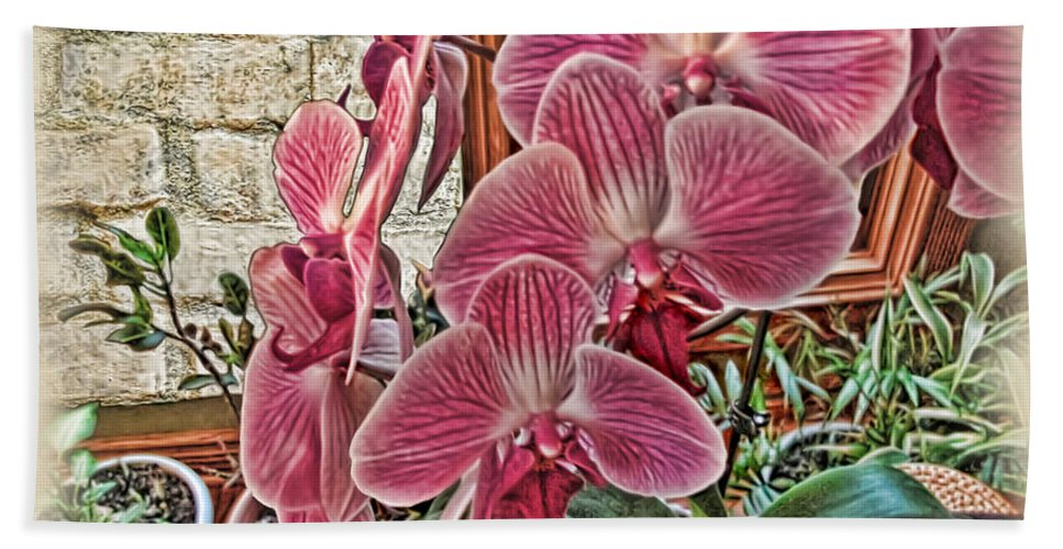 Rudolfiella Bath Sheet featuring the photograph Pink Orchids by Joan Minchak