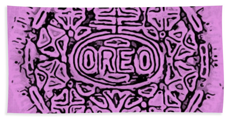 pink oreo hand towel for sale by rob hans