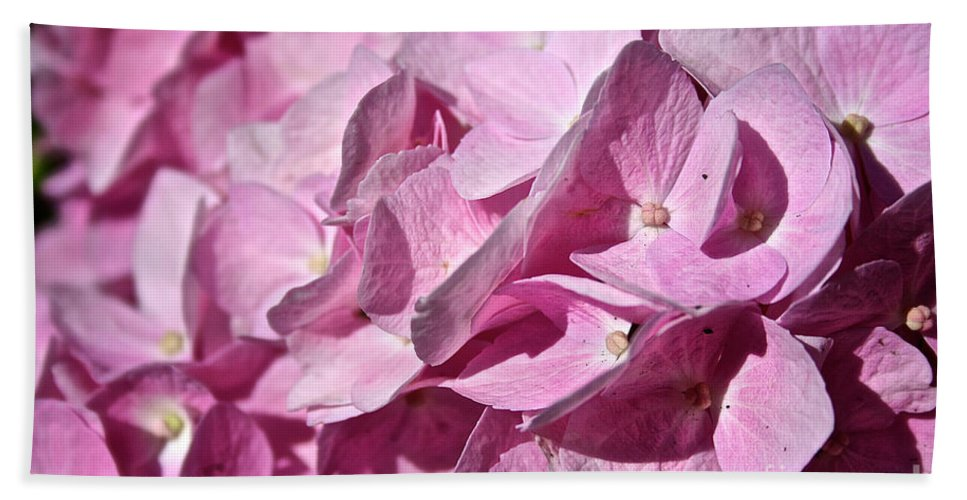 Plant Hand Towel featuring the photograph Pink Petal Pushing by Susan Herber