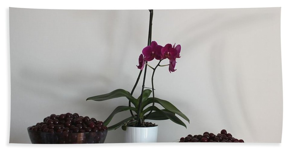 Pink Orchid Bath Sheet featuring the painting Pink Phalaenopsis Orchid And Sour Cherries by Georgeta Blanaru