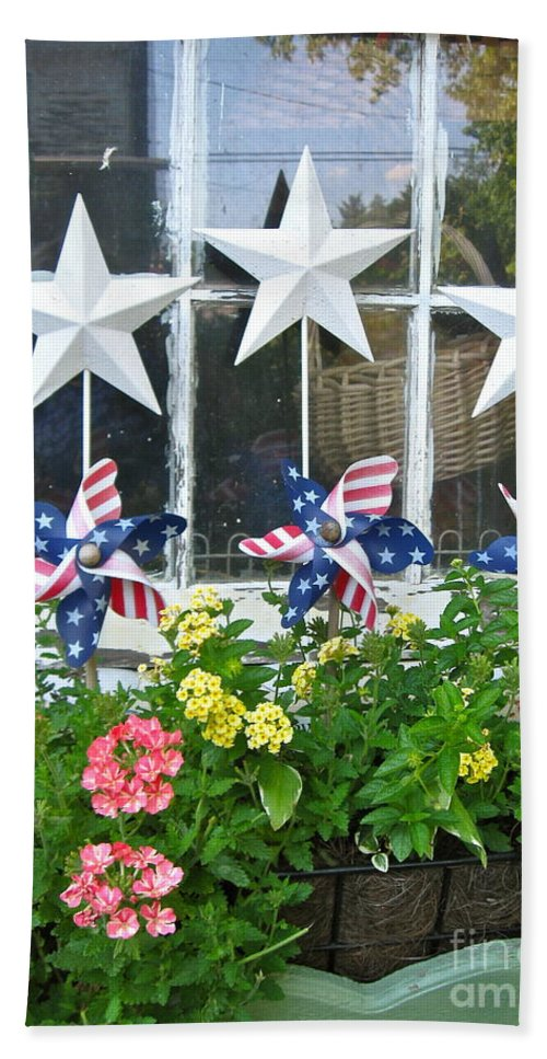Pinwheels Bath Sheet featuring the photograph Pinwheels In The Flower Box by Nancy Patterson