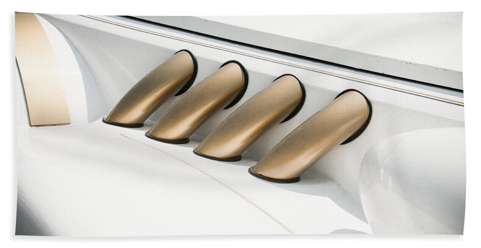 Automobile Hand Towel featuring the photograph Pipes by Guy Whiteley