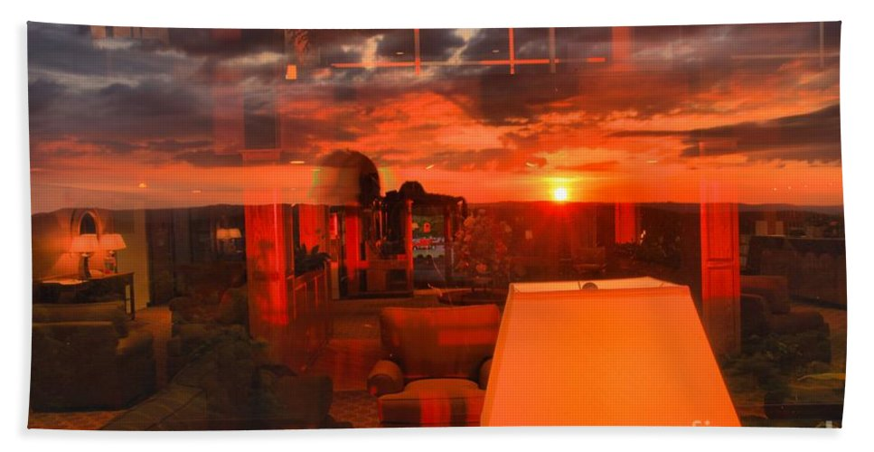 Mckeever Lodge Sunset Hand Towel featuring the photograph Pipestem Sunset by Adam Jewell