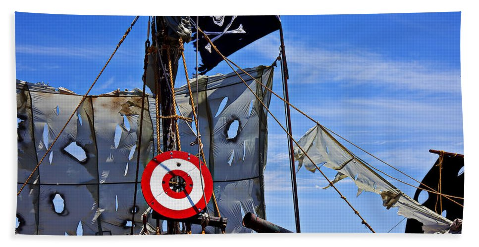 Pirate Ship Target Tattered Sails Canon Hand Towel featuring the photograph Pirate Ship With Target by Garry Gay