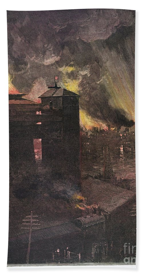 1885 Hand Towel featuring the photograph Pittsburgh: Furnaces, 1885 by Granger