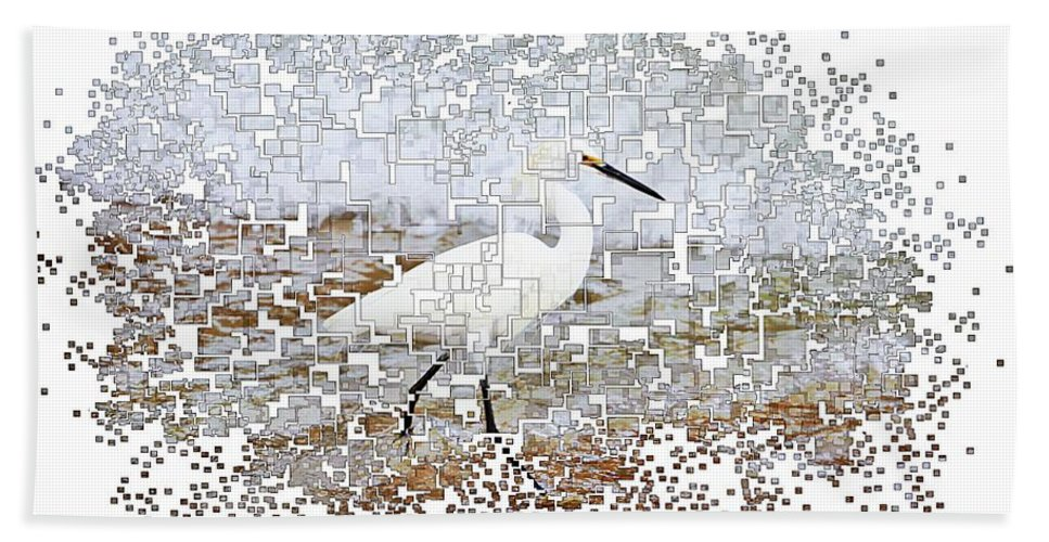Cowbird Bird Ocean Pixellated Hand Towel featuring the photograph Pixel Cowbird by Alice Gipson