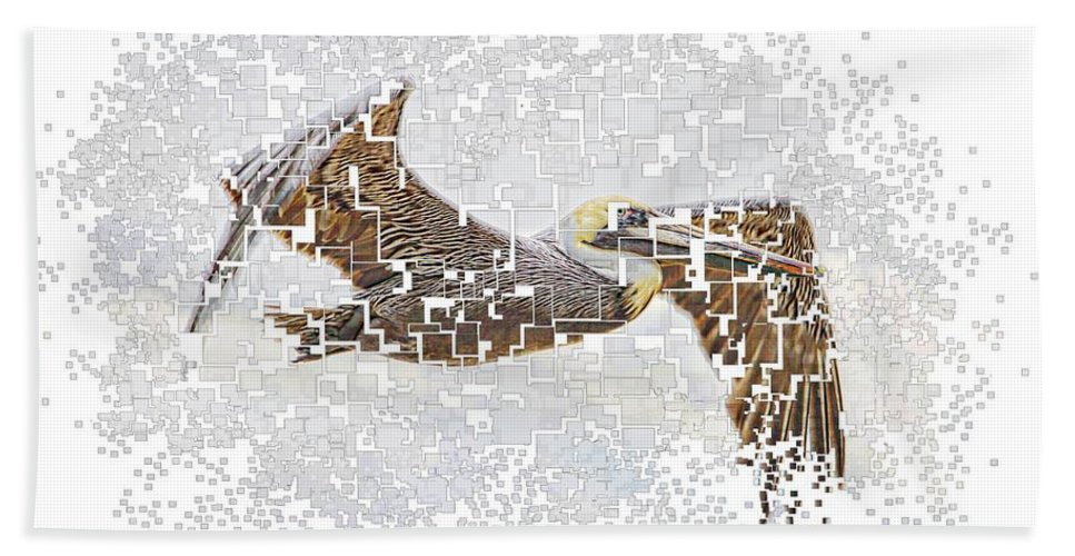 Pelican Hand Towel featuring the photograph Pixel Pelicano by Alice Gipson