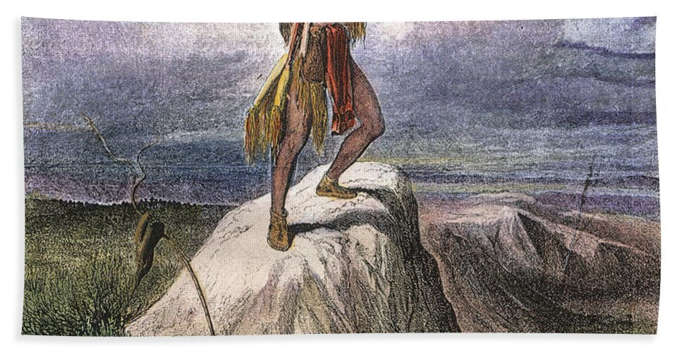 1873 Hand Towel featuring the photograph Plains Native American: Signal, 1873 by Granger