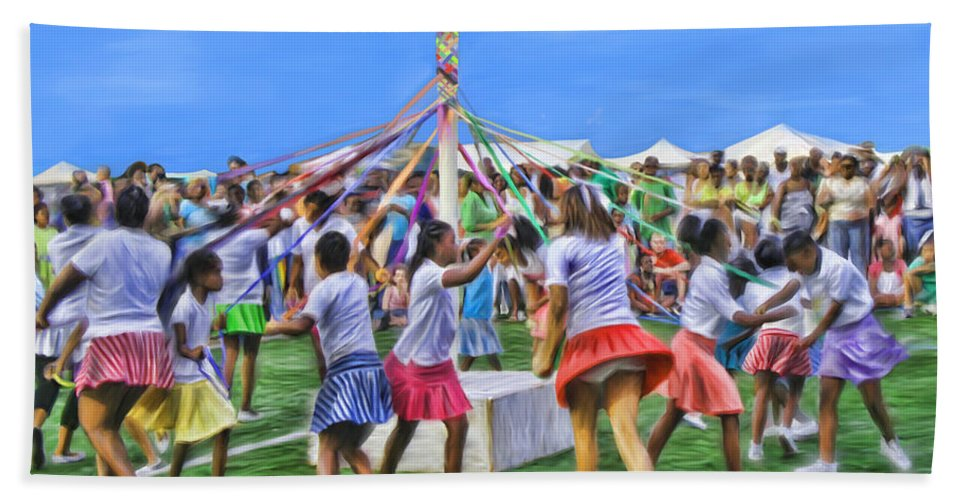 Maypole Bath Sheet featuring the painting Plaiting The Maypole by James Mingo