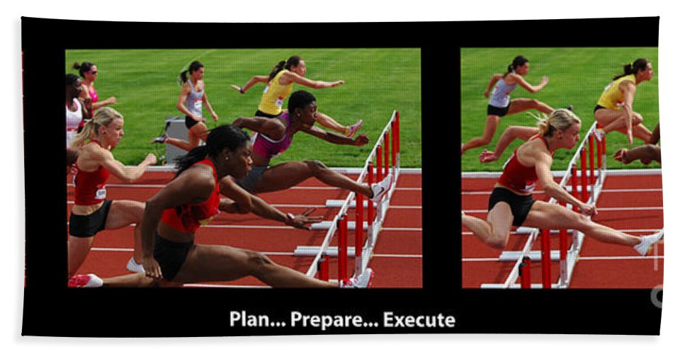 Track And Field Bath Sheet featuring the photograph Plan Prepare Execute With Caption by Bob Christopher