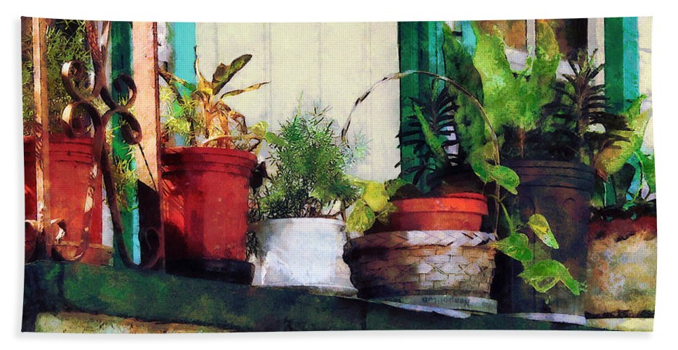 Plant Bath Sheet featuring the photograph Plants On Porch by Susan Savad