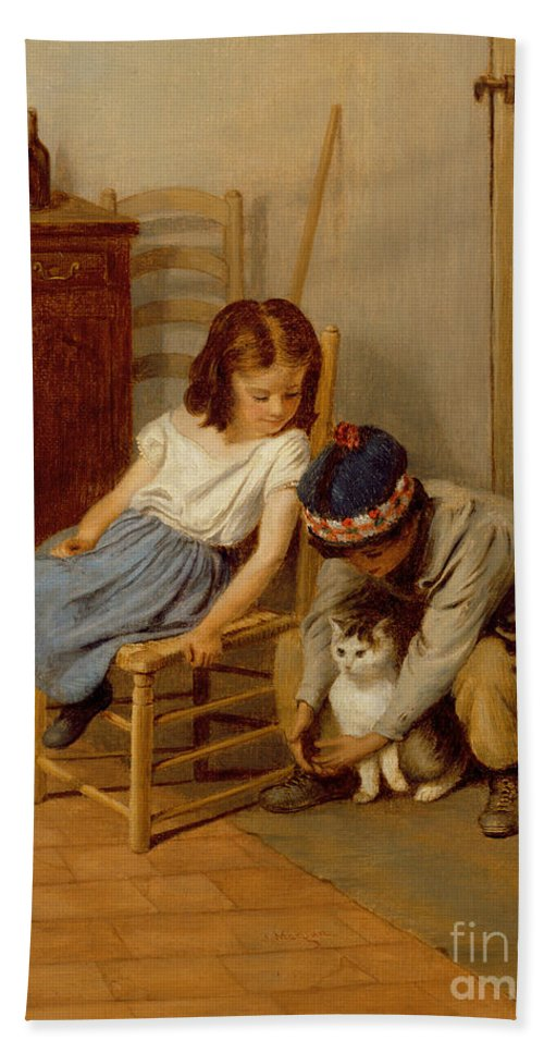 Playing Bath Sheet featuring the painting Playing With Kitty by John Morgan