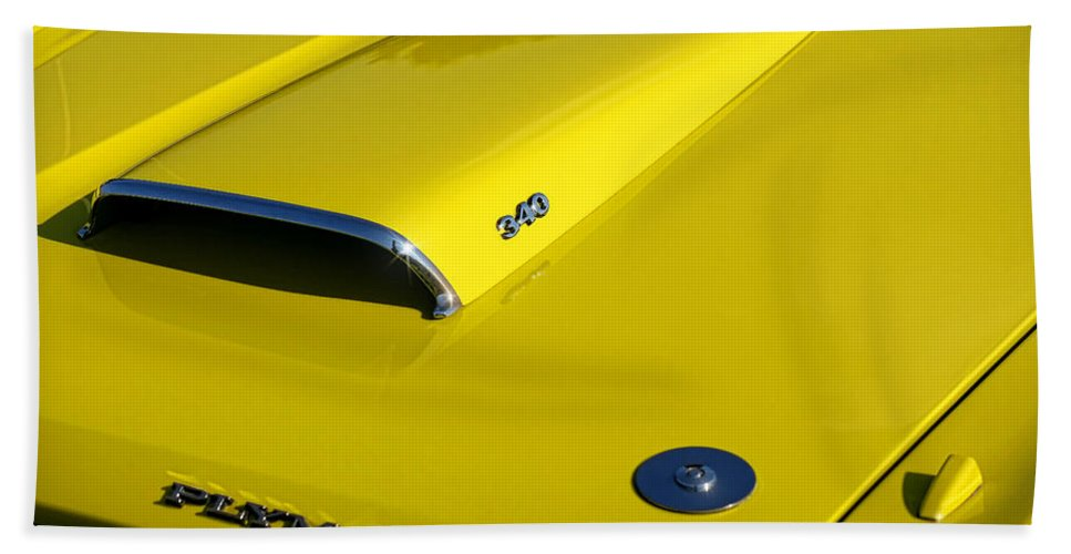 Plymouth Bath Sheet featuring the photograph Plymouth Duster 340 Hood Scoop by Gordon Dean II