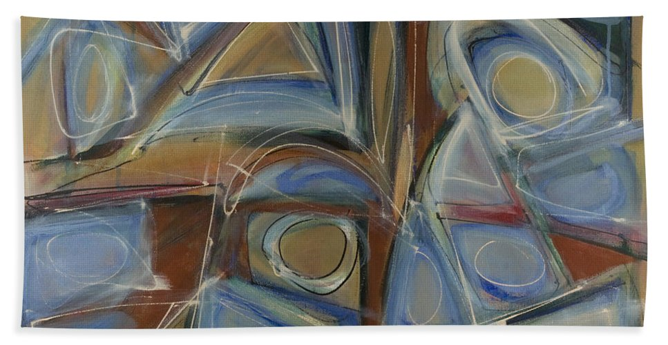 Non-objective Bath Sheet featuring the painting Point And Click Two by Lynne Taetzsch