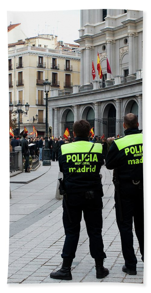 Madrid Hand Towel featuring the photograph Policia Madrid by Lorraine Devon Wilke