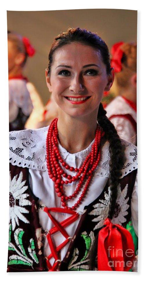 Polish Folk Dancing Girl Bath Sheet featuring the photograph Polish Folk Dancing Girl by Mariola Bitner
