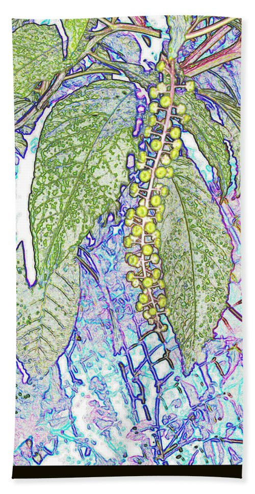 Nature Bath Sheet featuring the digital art Polke Salad Dreams by Debbie Portwood