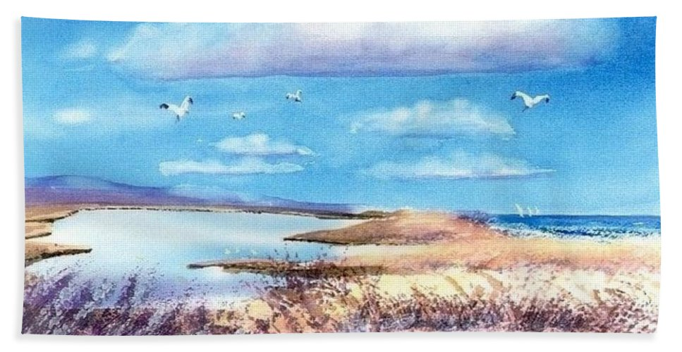 Pond Hand Towel featuring the painting Pond At South Cape Beach by Joseph Gallant