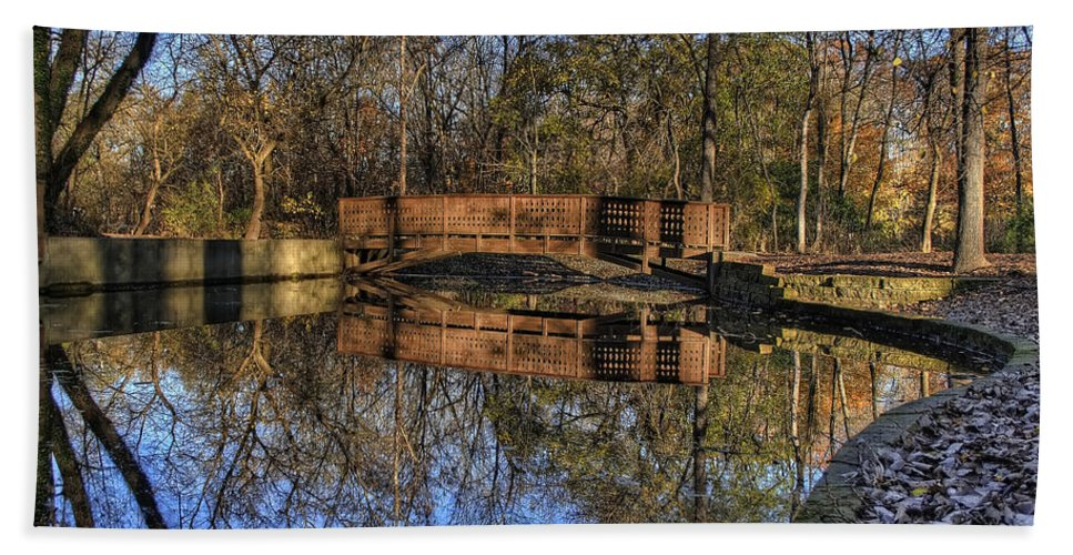 Bridge Bath Sheet featuring the photograph Pond Reflections by Scott Wood