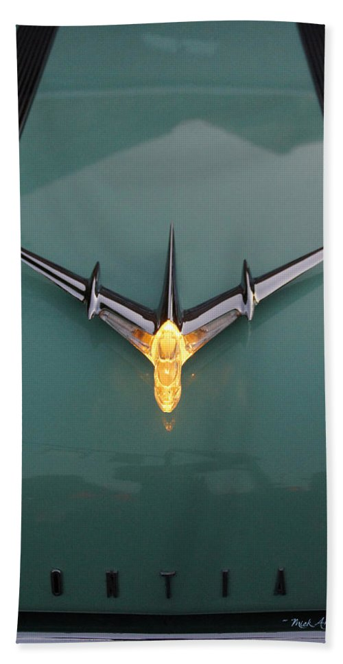 Lit Bath Sheet featuring the photograph Pontiac Hood Ornament Lit by Mick Anderson
