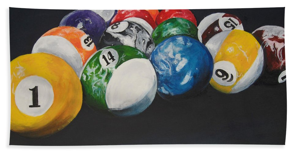 Pool Balls Bath Towel featuring the painting Pool Balls by Travis Day