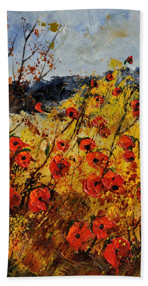 Flowers Bath Sheet featuring the painting Poppies In Provence 456321 by Pol Ledent