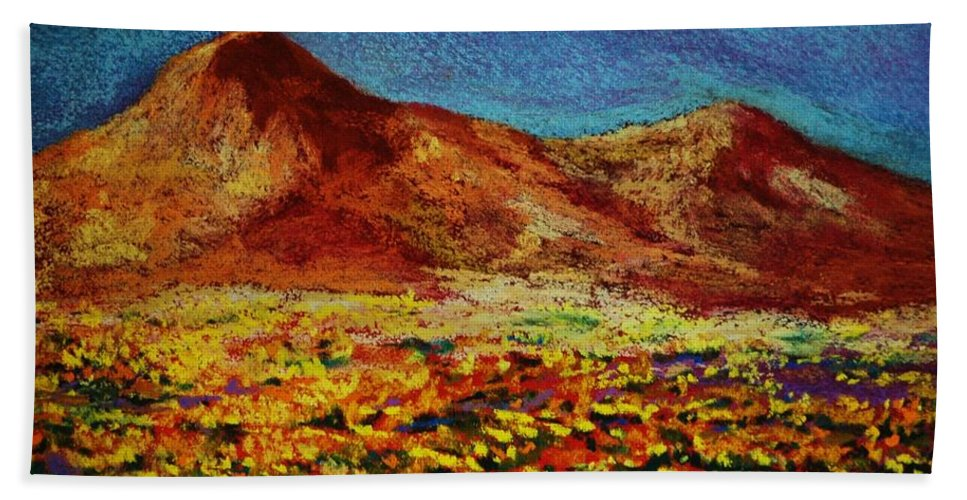 Trans Mountain Bath Towel featuring the painting Poppies by Melinda Etzold