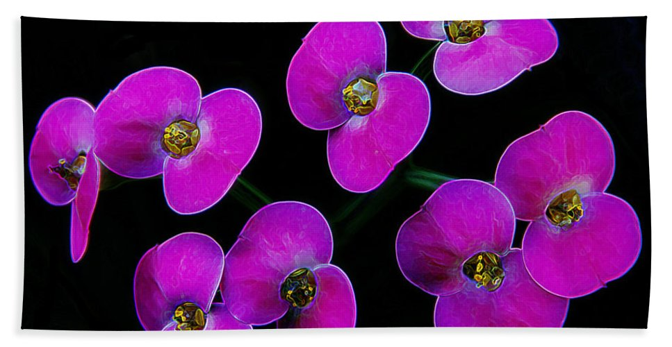 Pink Flower Hand Towel featuring the photograph Poppin Pink Petals by Bill Tiepelman