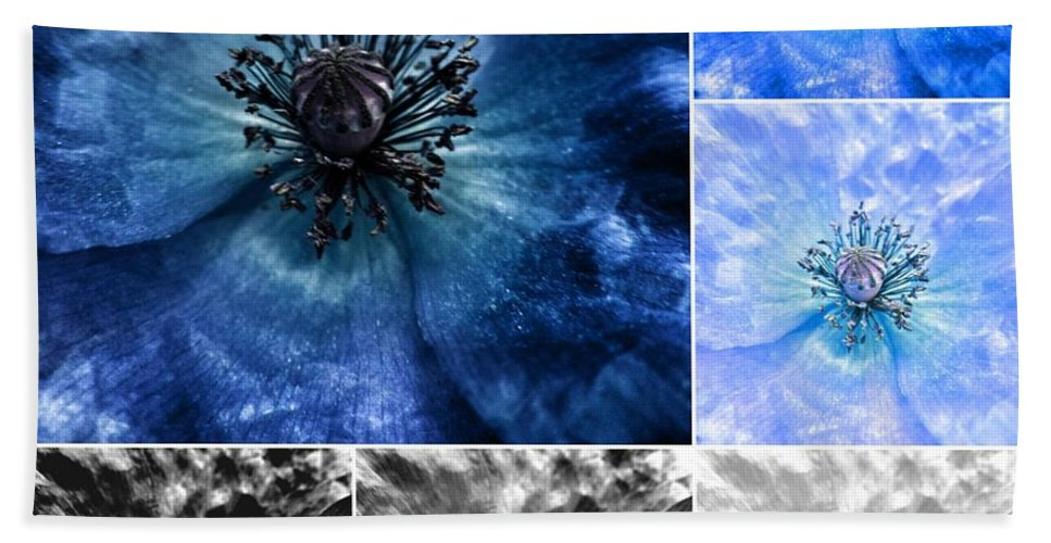 Poppy Hand Towel featuring the photograph Poppy Blue - Macro Flowers Fine Art Photography by Marianna Mills